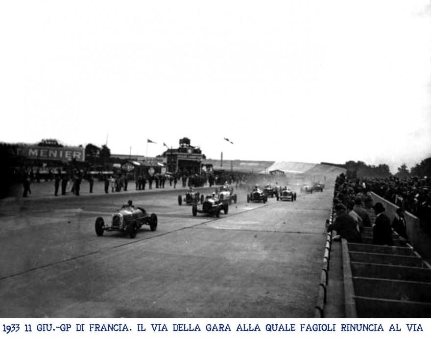 GP di Francia del 1933 la Maserati deve riununciare alla presenza di Fagioli per la mancata messa a punto dei freni della macchina