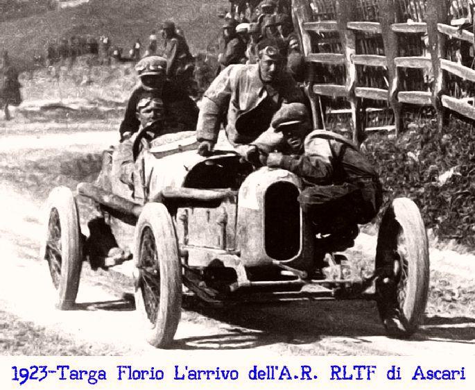 Alla Targa Florio del 1923 l'Alfa RLTF di Ascari per vincere viene fatta passare sulla linea del traguardo per due volte due volte