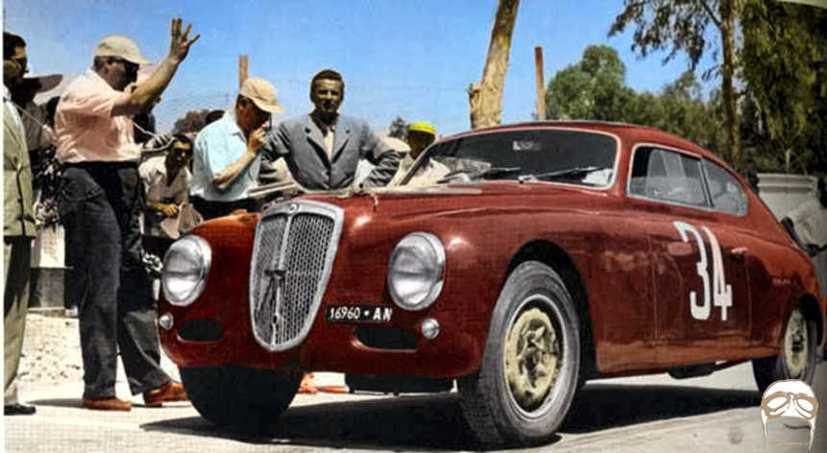 La Lancia B20 di Bonetto al via